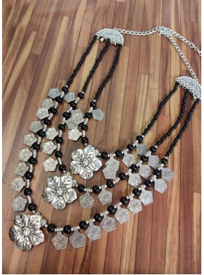 Stone Work Silver Necklace Set