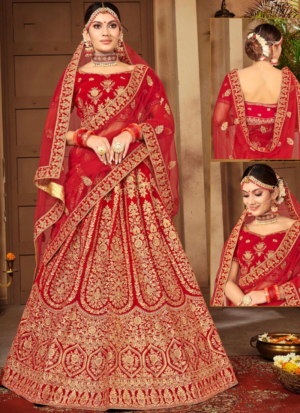 Stone Work Velvet Red Designer A Line Lehenga Choli