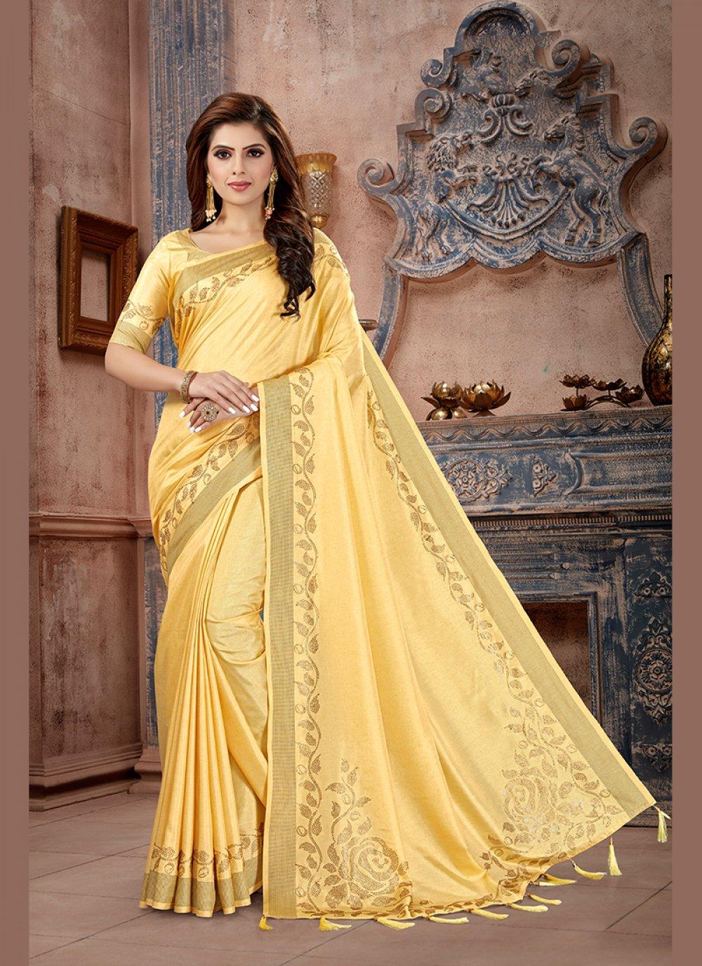 Stone Work Yellow Art Silk Traditional Saree