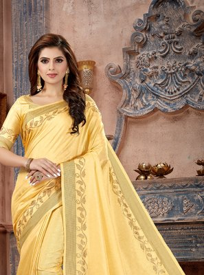 Stone Work Yellow Art Silk Traditional Saree