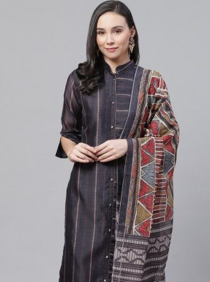 Straight Salwar Kameez Digital Print Chanderi in Grey