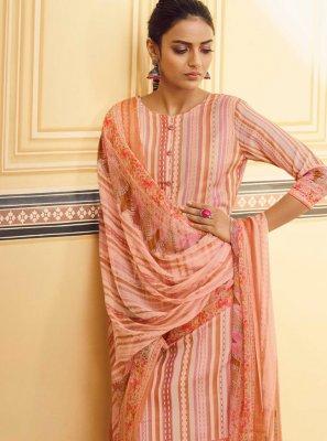 Stripe Print Peach Pashmina Designer Pakistani Suit
