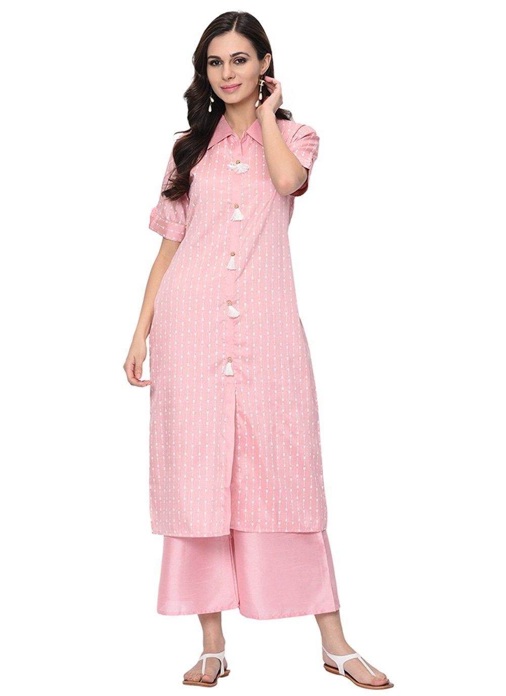 Stripe Print Pink Party Wear Kurti