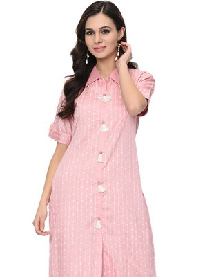 Stripe Print Pink Party Wear Kurti