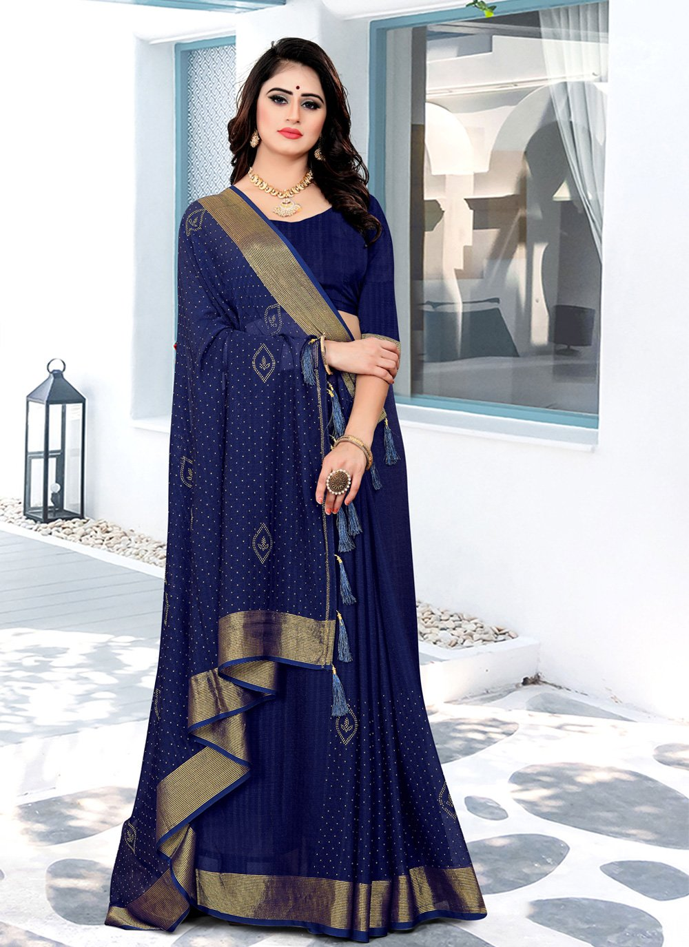 Swarovski Navy Blue Satin Silk Trendy Saree