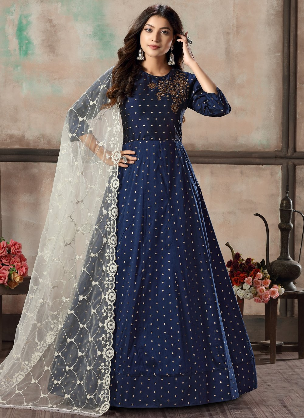 Tafeta Silk Blue Salwar Suit