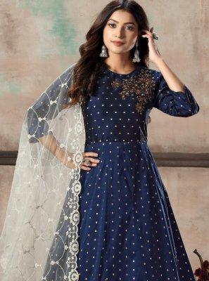 Tafeta Silk Blue Salwar Suit