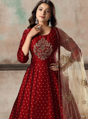 Tafeta Silk Embroidered Anarkali Suit