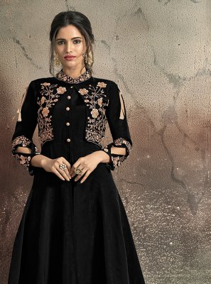 Tafeta Silk Embroidered Black Designer Gown