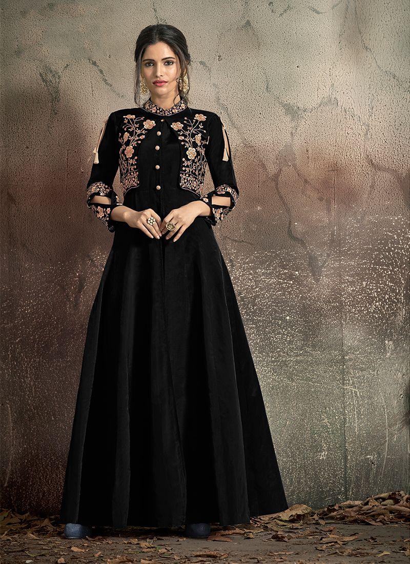 Tafeta Silk Embroidered Black Designer Gown