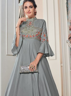 Tafeta Silk Embroidered Grey Floor Length Gown