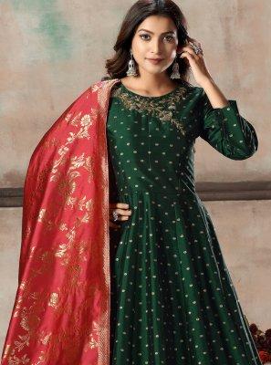 Tafeta Silk Green Zari Anarkali Salwar Kameez