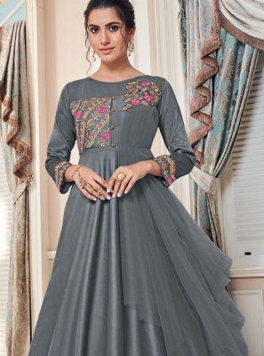 Tafeta Silk Grey Designer Gown
