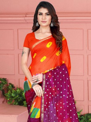 Tafeta Silk Magenta and Orange Printed Casual Saree