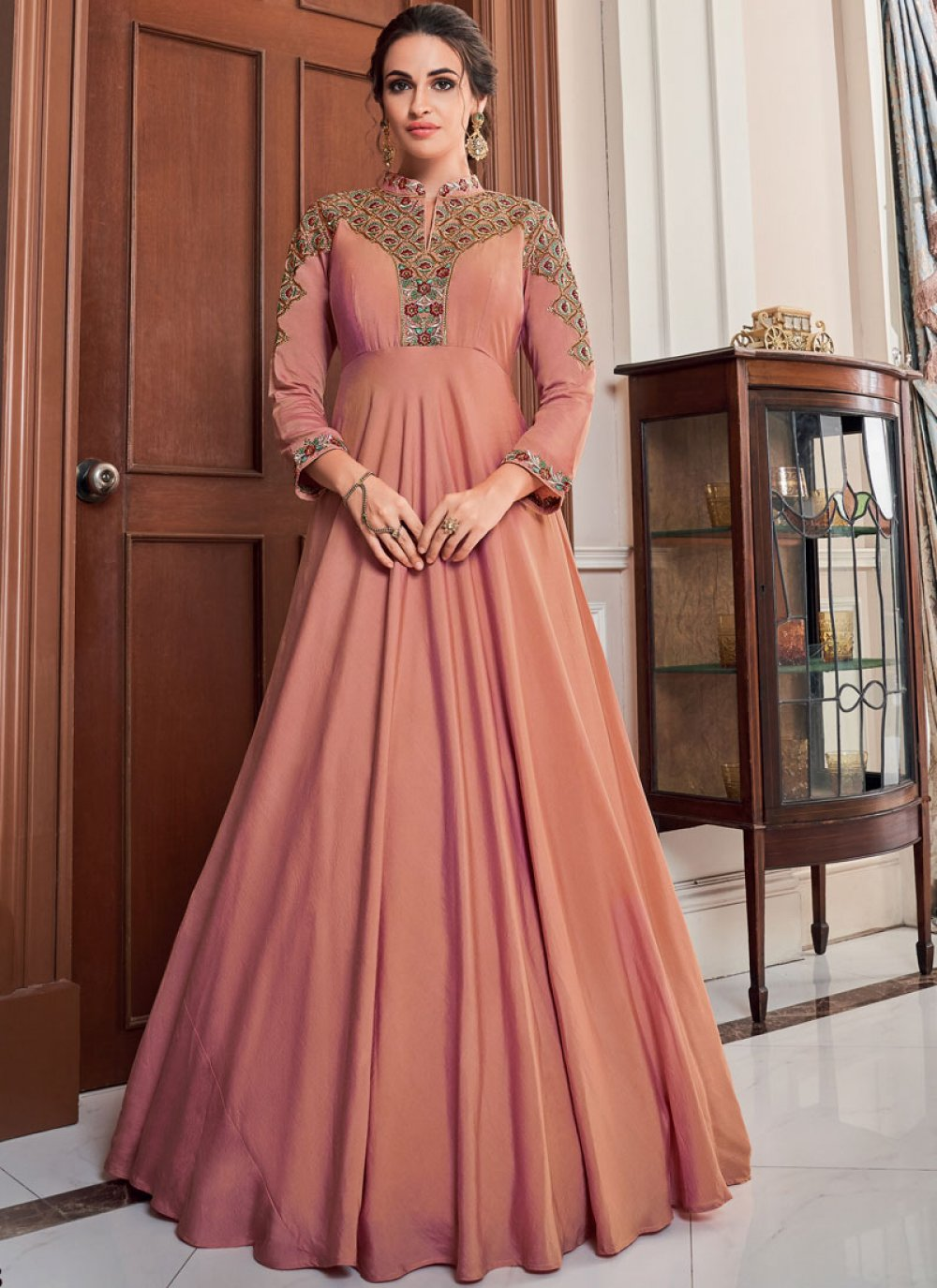 Tafeta Silk Peach Designer Gown