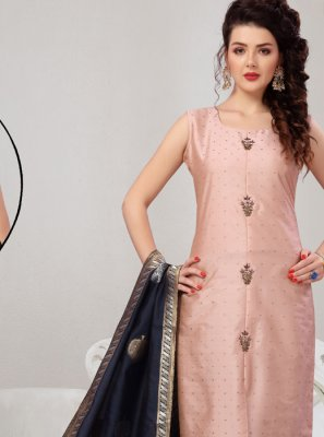 Tafeta Silk Pink Embroidered Readymade Suit