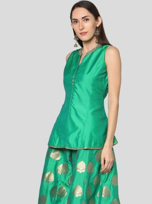 Tafeta Silk Print Turquoise Salwar Suit