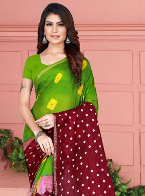 Tafeta Silk Printed Printed Saree in Green and Maroon