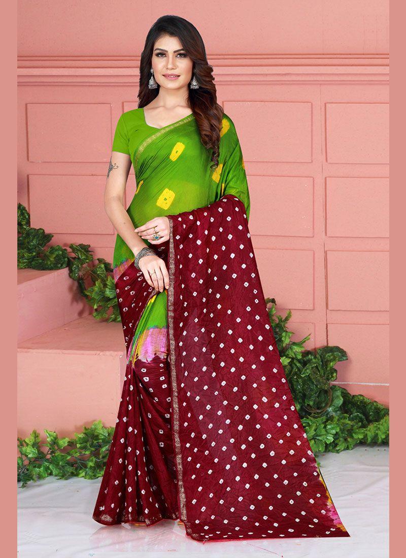 Tafeta Silk Printed Printed Saree in Green and Maroon