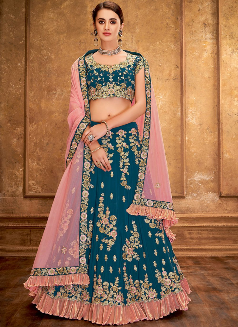 Tafeta Silk Sequins Designer Lehenga Saree in Teal