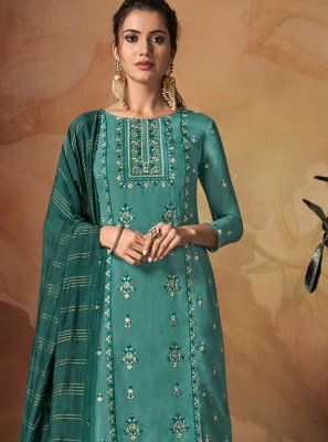 Teal Art Banarasi Silk Salwar Suit