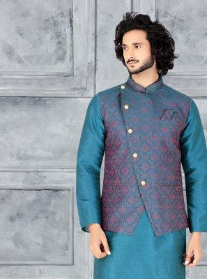 Teal Art Silk Engagement Kurta Payjama With Jacket