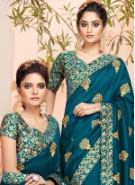 Teal Art Silk Reception Traditional Designer Saree