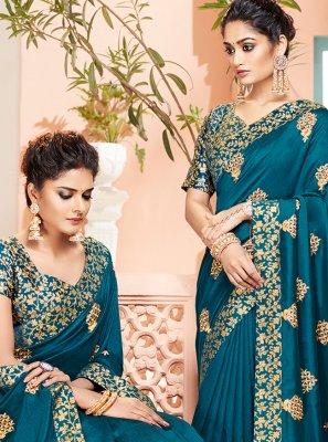 Teal Art Silk Reception Traditional Designer Saree