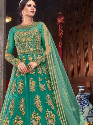Teal Ceremonial Desinger Anarkali Salwar Kameez