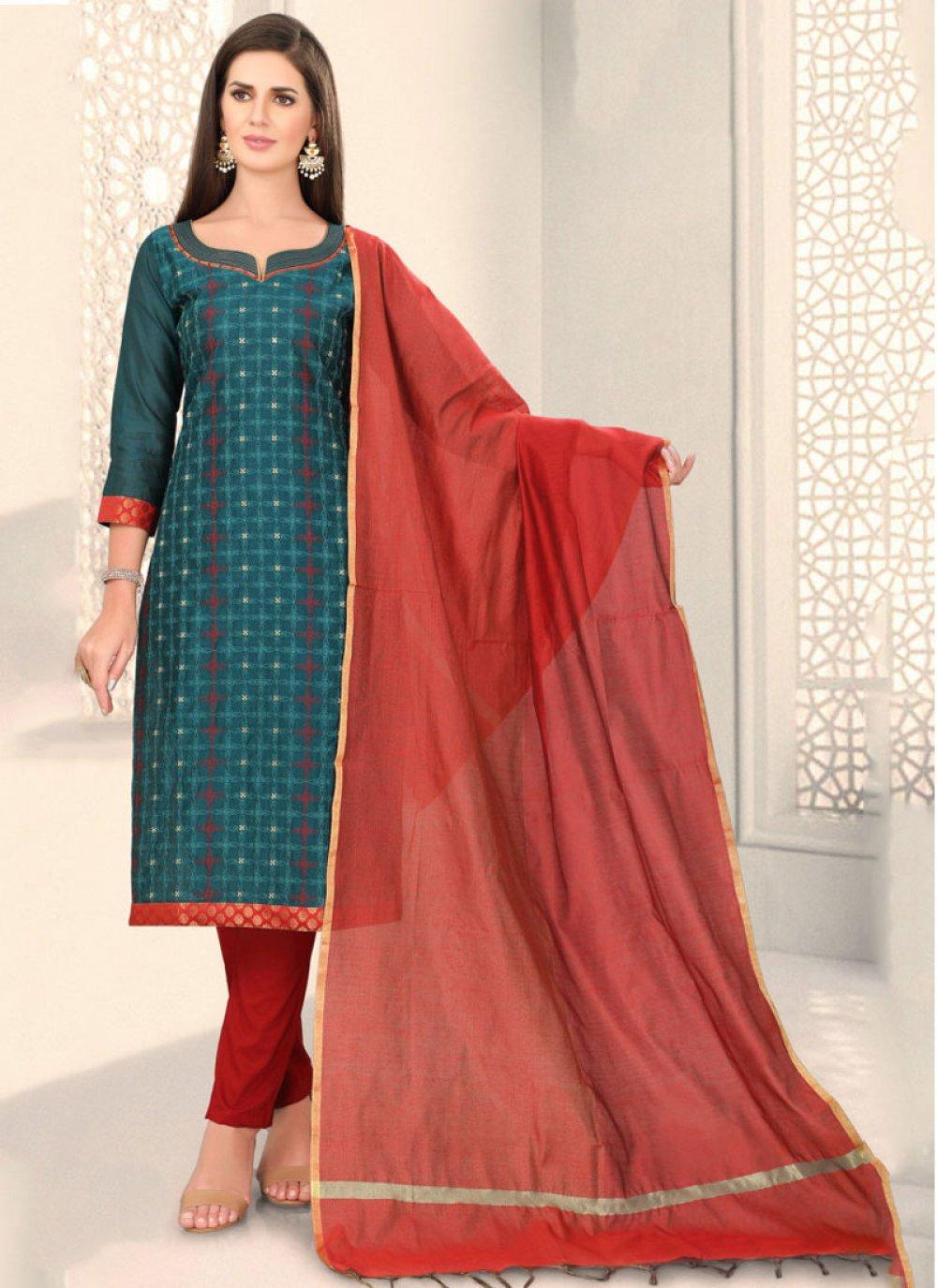 Teal Chanderi Fancy Churidar Designer Suit