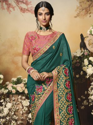 Teal Color Bollywood Saree