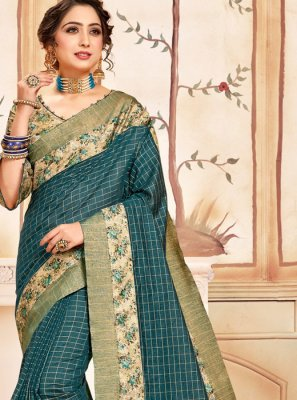 Teal Color Printed Saree