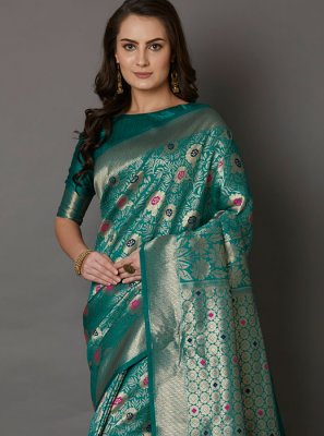 Teal Color Silk Saree