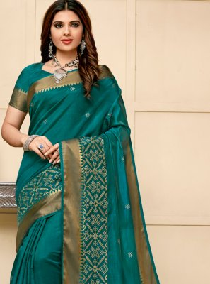 Teal Cotton Silk Contemporary Saree