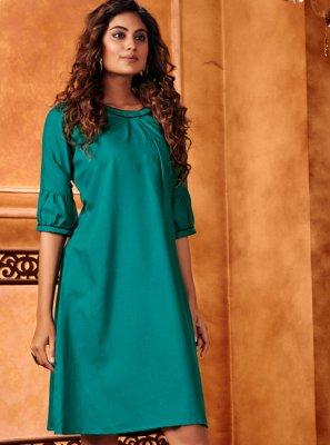 Teal Cotton Silk Festival Casual Kurti