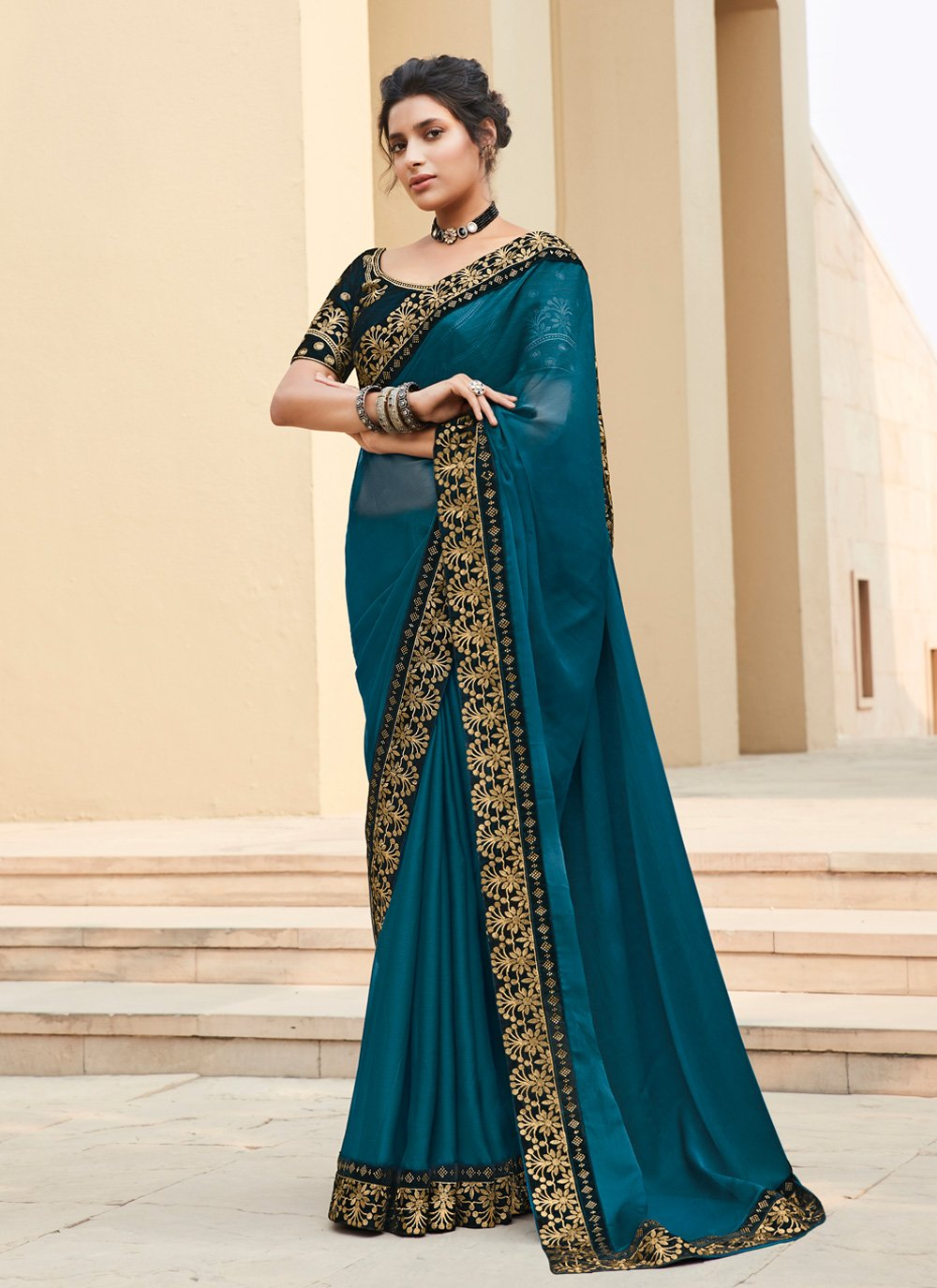 Teal Embroidered Bollywood Saree