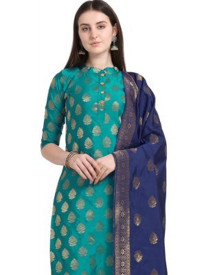 Teal Embroidered Cotton Salwar Kameez