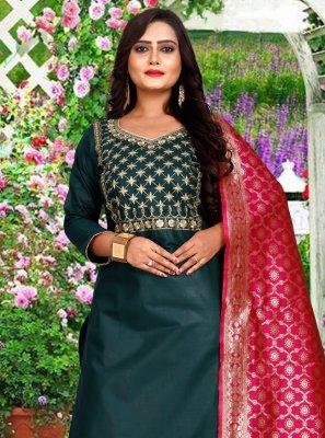 Teal Embroidered Cotton Salwar Kameez