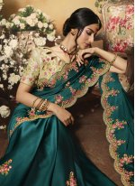 Teal Embroidered Designer Bollywood Saree