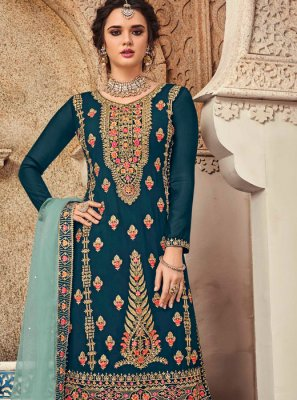Teal Embroidered Faux Georgette Salwar Suit