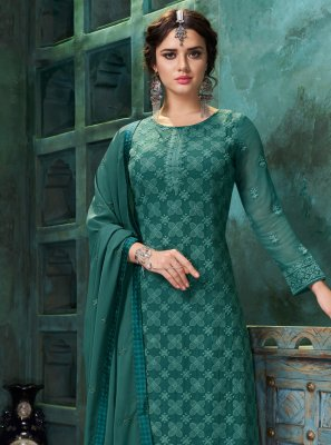 Teal Embroidered Faux Georgette Trendy Suit