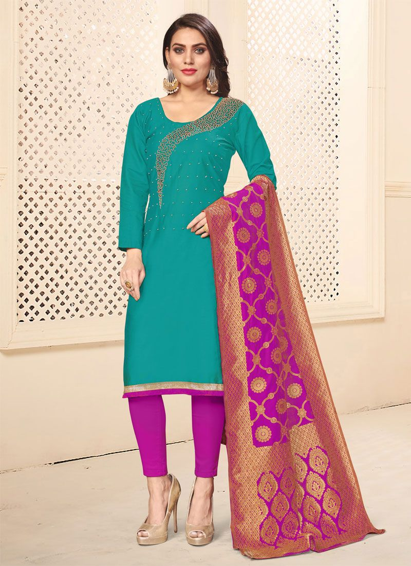 Teal Embroidered Festival Pant Style Suit