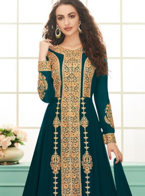 Teal Embroidered Festival Salwar Suit