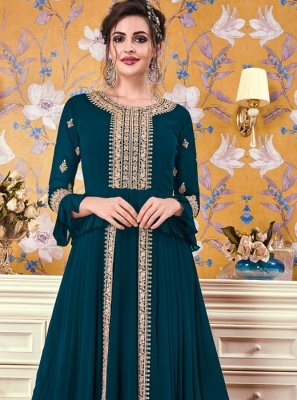 Teal Embroidered Floor Length Gown