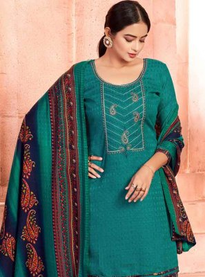 Teal Embroidered Patiala Salwar Suit