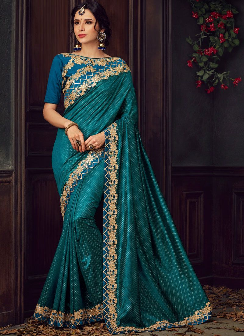 Teal Embroidered Poly Silk Trendy Saree