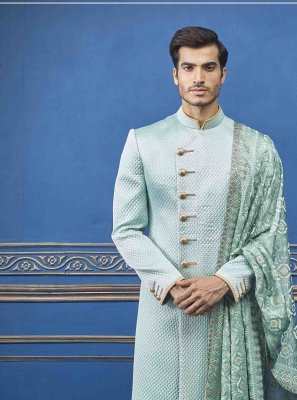 Teal Embroidered Pure Silk Sherwani
