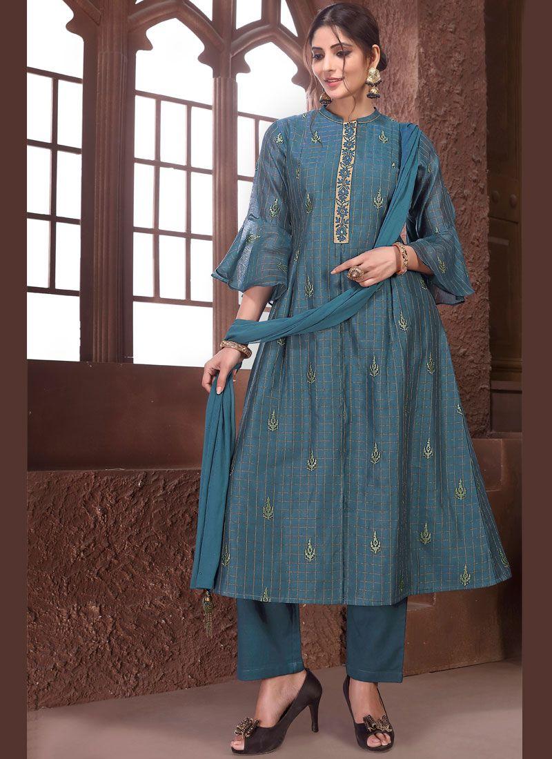 Teal Embroidered Salwar Suit