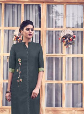 Teal Embroidered Satin Silk Party Wear Kurti