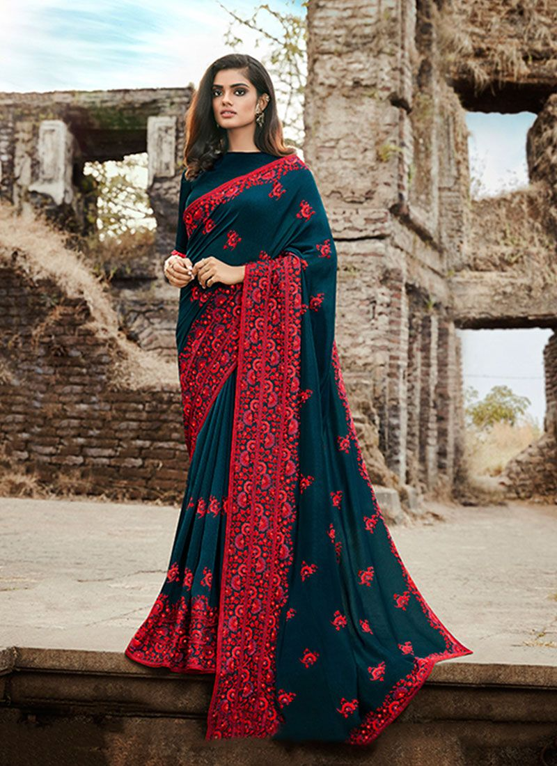 Teal Embroidered Silk Classic Saree